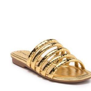 Donal/Pliner Kip snake-embossed slide sandals gold